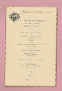 Holland America shipping line Breakfast menu, R.M.S. Nieuw Amsterdam. 1923.