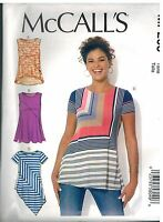 MP206 UNCUT McCalls Sewing Pattern Misses Pullover Tops Casual Sleeveless Short