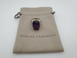 David Yurman Wheaton Ring with Amethyst and Diamonds 20x15mm Size 6