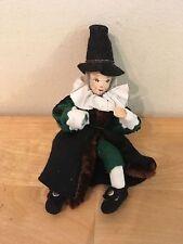 Vintage Period Costume Holiday Ornament Stockinette Felt Cloth Artist Doll