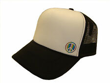 Rainbow Peace Sign Side Logo Black & White Mesh Trucker Cap Caps Hat Hats