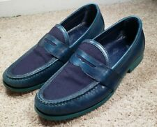 COLE HAAN-Blue Cttn Suede/Leather,  Mens Summer Slip.On Comfort Loafers-(10.M)