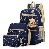 3PCs Womens Travel Canvas Rucksack Backpack Tote Girls School Star Shoulder Bag