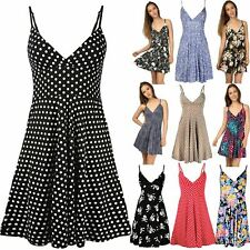 Womens Swing Top Ladies Skater Dress Strappy V Neck Polka Dot 50's Rockabilly