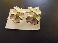 BOUCLES OREILLES Blanc EARRINGS White 14K GOLD FILLED GLAMOUR /new
