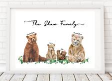 Personalised Family Prints Bear Gift Present Christmas birthday mum dad gift