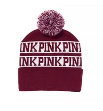 NWT Victoria's Secret PINK Maroon Beanie Hat Knit LIMITED EDITION One Size