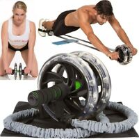 2Pcs Double Wheels Ab Roller Pull Rope Waist Abdominal Slimming Fitness Strench