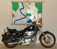 Wandkarte Wandbild Einführung Maßstab Geographie 140x101cm vintage~1960