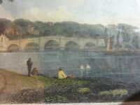 Antique Engraving  Richmond Bridge, Beauties of England  and Wales, after Neale