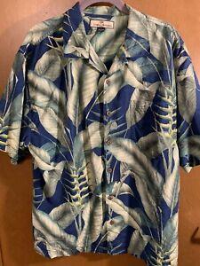 Men's AWESOME Tommy Bahama Silk Shirt LARGE LEAF PRINT Size L Large Short Sleeve