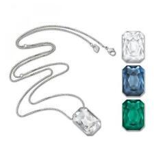 $180 Swarovski Clear/Green/Blue Interchangeable Pendant Verso Long #5017109