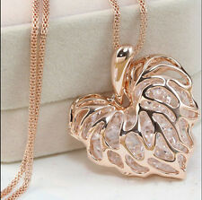 Women Heart Hollow Gold Silver Crystal Rhinestone Pendant Long Chain Necklace