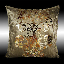 LUXURY SHINY BRONZE GOLD DAMASK DECO VELVET CUSHION COVER THROW PILLOW CASE 17""