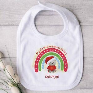 Personalised My First Christmas 2021 Baby Bib Teddy Design