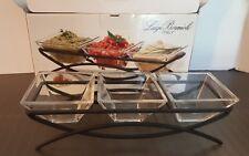 LUIGI BORMIOLI Tuscan Bowl Set with Wrought Carrier