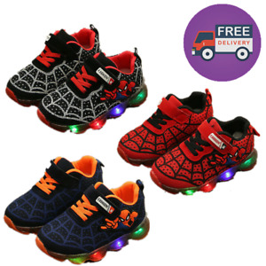 Children Kids Boys Girls Spiderman LED Trainers Shoes Flashing Light Up Sneakers