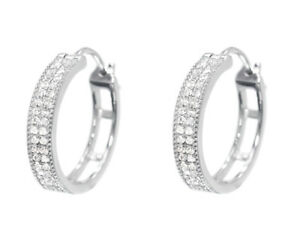 10k White Gold Pave Round Diamond Huggie Hoops Earrings 1/3 ct