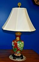 "26"" VINTAGE CHINESE CLOISONNE VASE TABLE LAMP-  PORCELAIN ASIAN ORIENTAL"