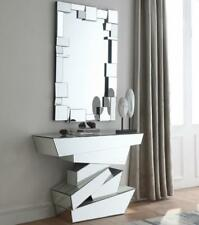 Meridian Furniture Jade Mirrored Contemporary Design Console Table w/Mirror 2Pcs