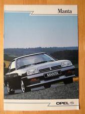 OPEL MANTA GSi orig 1988 French Mkt Sales Brochure Depliant Prospekt