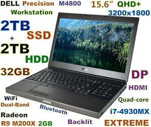 Workstation DELL M4800 i7-EXTREME (2TB SSD + 2TB) 32GB 15.6 QHD+ FirePro M5100