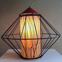 Vintage 50s Metal Fiberglass Shade Ceiling Lamp Pendant Swag Mid Century Modern