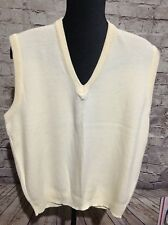 Vintage Rockabilly Hipster Ivory Sweater Vest Puritan Men's L Made In USA EUC
