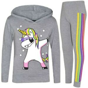 Kids Girls Tracksuit Unicorn Rainbow Dab Floss Grey Top Legging Xmas Set 7-13 Yr