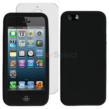 Silicone Soft Rubber Gel Case+LCD Screen Guard for Apple iPhone 5 5S SE Black