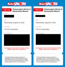 4 x Chessington Tickets **Summer Hols ** Wednesday 26th August