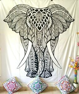 Stand Elephant Design Cotton Handmade Wall Hanging Tapestry Queen Size White Art