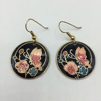 Vtg Cloisonne Butterfly Floral Gold Tone Pierced Hook Dangle Round Earrings