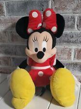 "Disney Parks Plush Minnie Mouse Stuffed Animal Red White Black Polka Dots 15"""