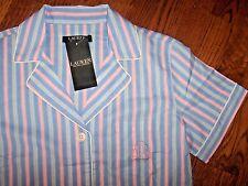 NWT Ralph Lauren $62 Blue/Pink/Teal/White STRIPES Pajamas SHORTS/Top Set L LIGHT