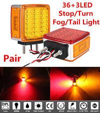 2 Truck Square Dual Face Stud Mount Pedestal Cab Fender Turn Signal Light 39LED