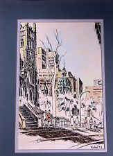 """Montreal PQ Canada Signed La Rose Watercolor Pen and Ink 12 x 16"""""""