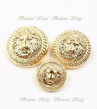 Leo Gold Metal British style Buttons Size 13mm. 15mm. 20mm. 22mm. 25mm.