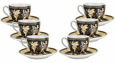 Euro Porcelain 12-pc Greek Key Coffee Espresso Miniature Cup & Saucer Set (4 oz)