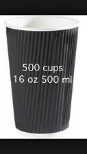 500 Ripple Triple wall paper coffee cups , disposable coffee cups  16OZ Black