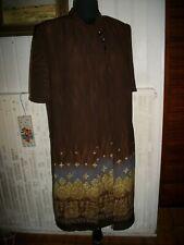 Robe sans manches et veste longue polyester marron  doublé CHRISTINE LAURE 42FR