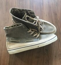 Womens Sperry Top-Sider Sz 8.5 M High Top Boat Shoes Gray Tan Leopard