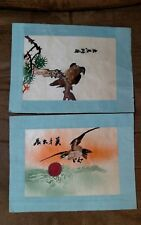 Pair Vintage Japanese Sun Asian Silk Embroidery Picture Falcon Birds Soaring