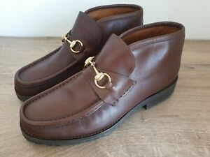 Authentic GUCCI Horsebit Ankle Boots Made in Italy - Brown/Gold - Mens Size 41.5