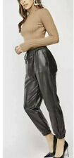 Black Faux Leather Wet Look Joggers Pants Trousers Med Sz 12 New Cuffed