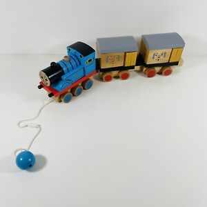 Thomas the Tank Engine Wooden Pull Along Train with Clarabell and Annie 2008