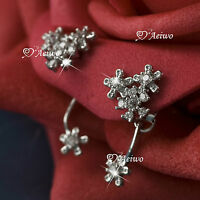 925 SILVER CUTE MADE WITH SWAROVSKI CRYSTAL STAR FLOWER BLOSSOM STUD EARRINGS