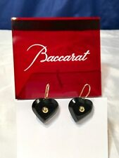 Baccarat A La Folie Crystal & Gold Heart Earrings Onyx 101077  Orecchini - NEW -