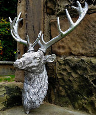 Large Dusty Silver Stag Deer Wall Mounted Head Figure Home Accessory