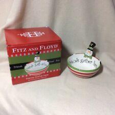 Nib Fitz & Floyd Top Hat Snow Man Tidbit Bowl Dish~Friends Gather Here~5 1/8 dia